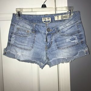 Light Blue Denim Shorts Semi-Distressed